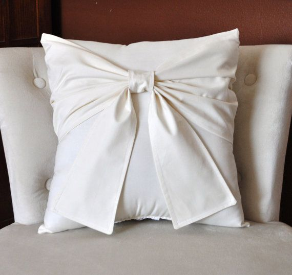 Cream Bow Pillow Decorative Pillow 16 x 16 by bedbuggs on Etsy, $42.00