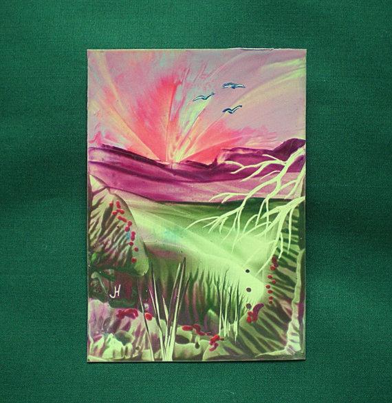 Original Aceo Fantasy Landscape Encaustic Art ' Pink by greanbea, $8.50