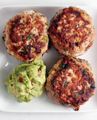 PALEO Jalapeño Chicken Burgers with Guacamole - Used 1 pound ground chicken and 1/2'd everything else (except used 1 whole jalapeño). Grilled on grill plate cuz super soft. Could even add more heat spice. Keeper!