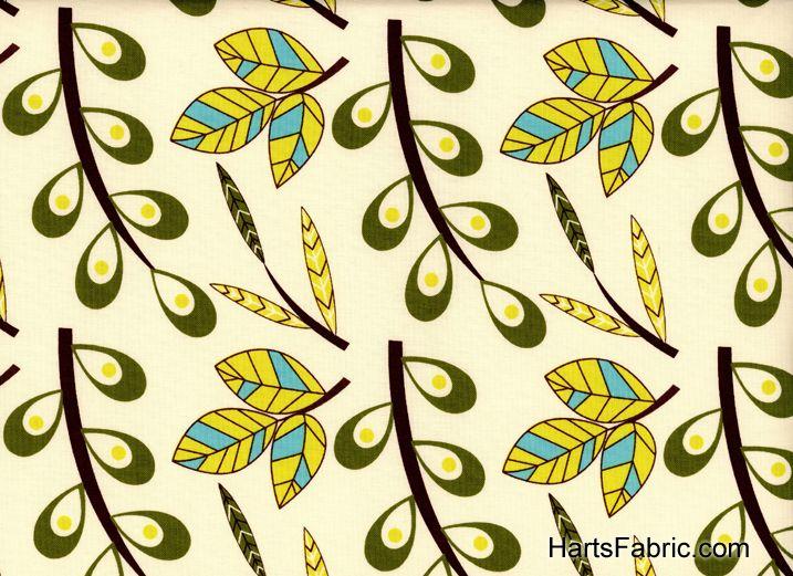 Vintage Fabric Patterns | Retro leaf pattern fabric
