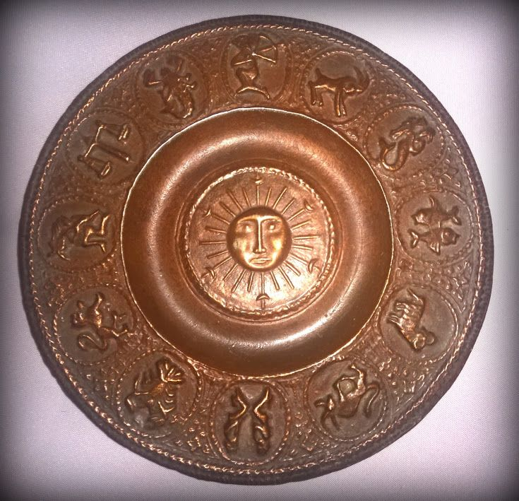 PAGAN-WITCHES CEREMONY ACCESSOIRE -   SALE!!! Bronze casting with pagan or astrological symbols for those, who know, what is this :) Size: 19 cm diameter; Material: aluminum; Made: circa 1970. * Price: $ 100 * Shipping: by arrangement * 1. owner: only in person! THIS IS THE VALUE * 2. owner: Evvalena Salon and Magdorka Design Studio, Bp. V. Galamb Street