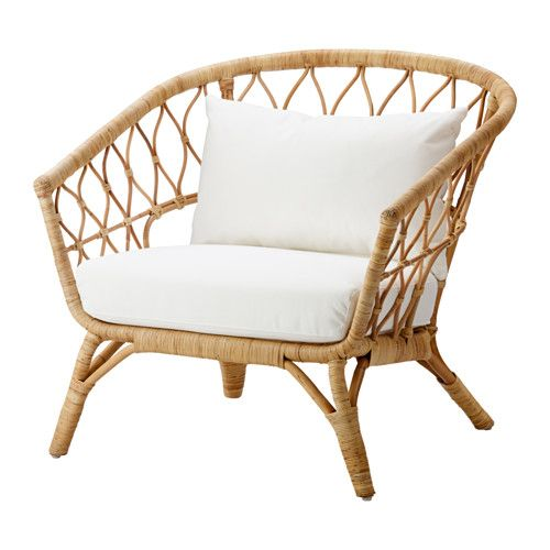 STOCKHOLM 2017 Chair with cushion, rattan, Röstånga white chair for the bedroom if we went nice wood floor and wood shelves