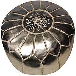 Leather Silver Pouf Ottoman (Morocco)