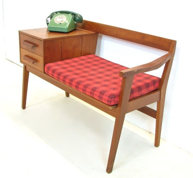Vintage Chippy Teak Telephone Lamp Table With Seat 1960s Retro Hall Furniture Pinterest And