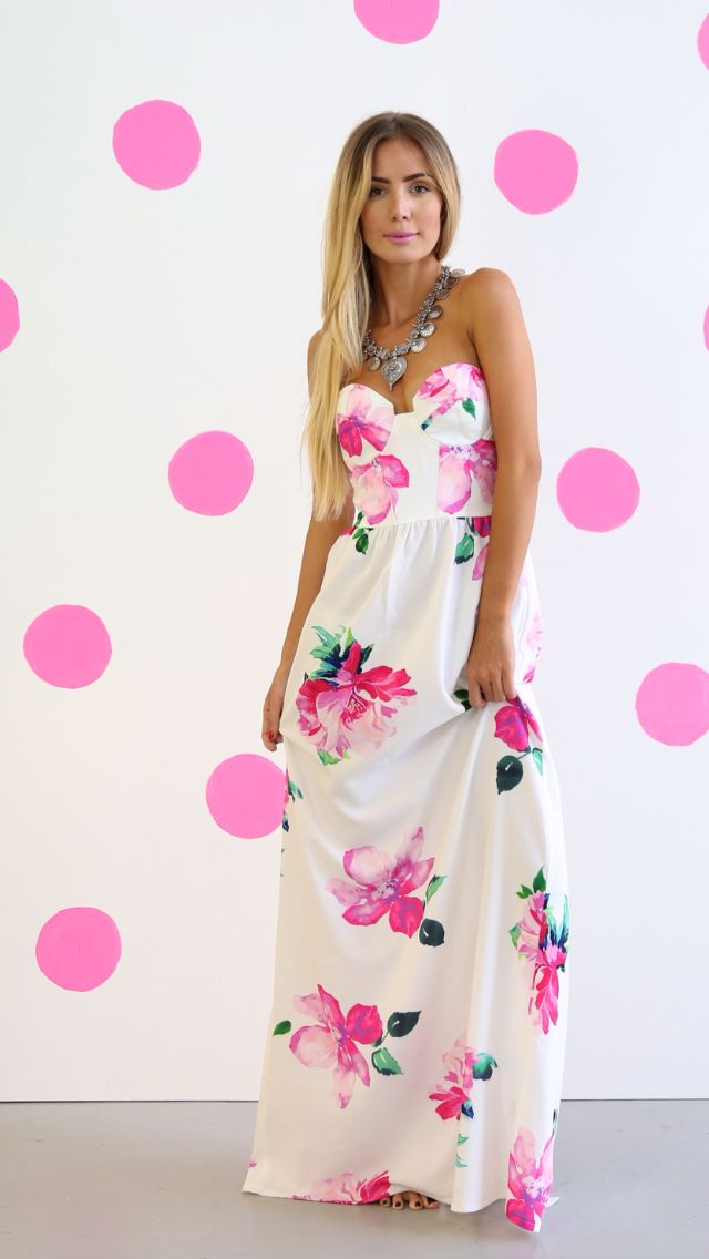 Toby Heart Ginger Contour Bodice Maxi Dress Pink