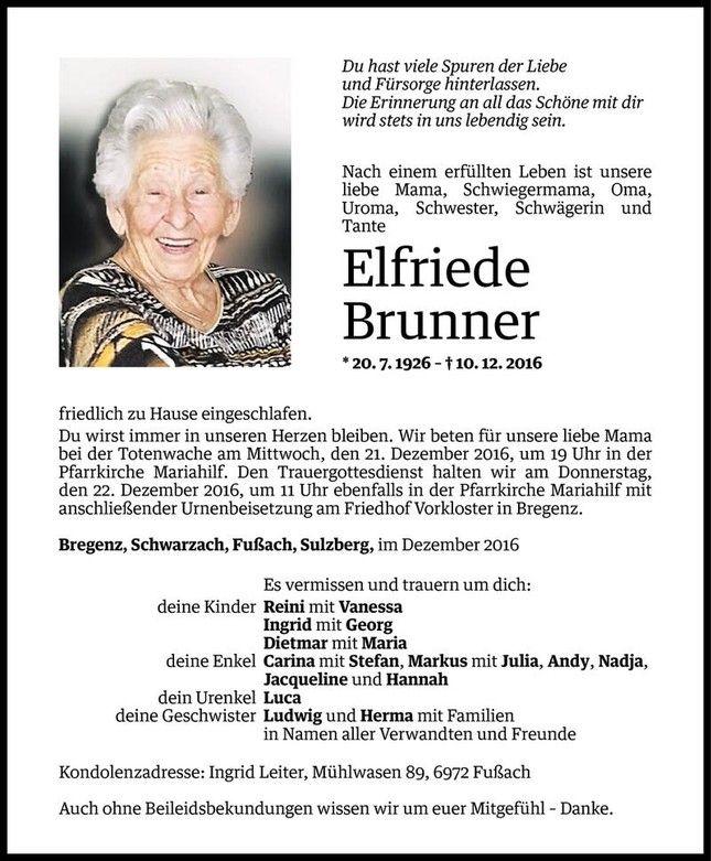 Todesanzeige Für Elfriede Brunner Vom 19.12.2016   VN Todesanzeigen