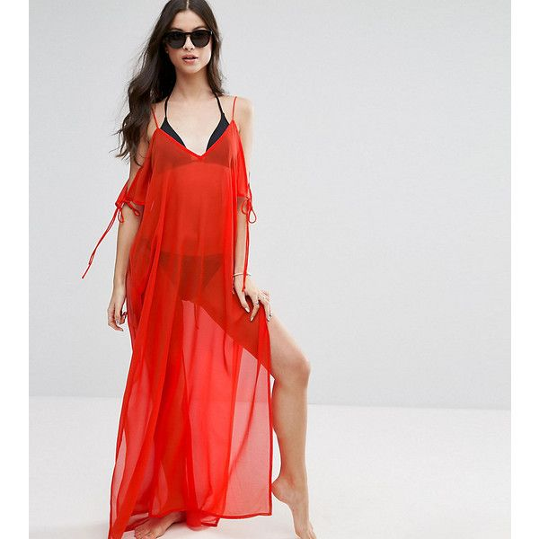 ASOS PETITE Chiffon Maxi Beach Kaftan with Cold Shoulders ($20) ❤ liked on Polyvore featuring tops, tunics, orange, petite, cut out shoulder top, short caftan, cold shoulder tops, petite tunics and short kaftan