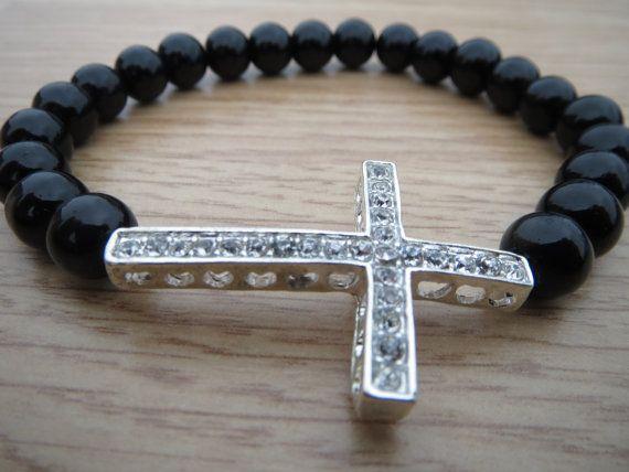 FREE SHIPPING Black Onyx Bracelet Rhinestone by BohemianChicbead #christmasgifts #crossbracelet #onyxbracelet $24