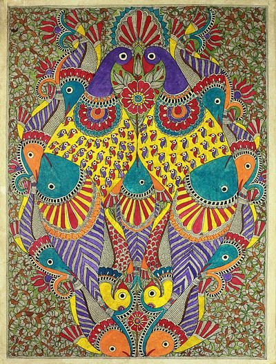 Authentic Madhubani Painting Fish and Peacocks - Happy Coexistence III | NOVICA