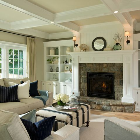 Stone Fireplace With White Mantle Design Ideas, Pictures, Remodel, and Decor - page 23