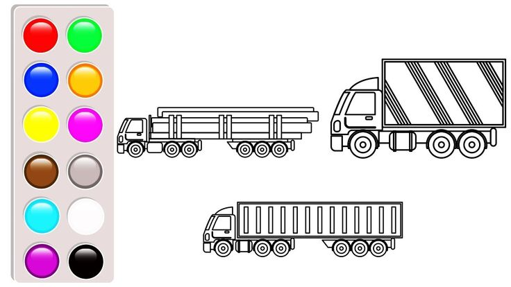 Container, dump truck colouring pages, Learn colors for kids, Vehicles c...