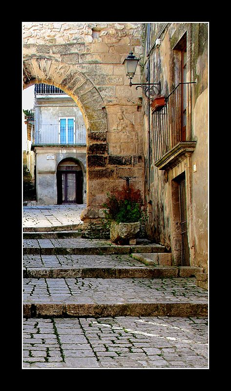 Chiaramonte Gulfi,  Ragusa ! province of Ragusa Sicily...I love these the little streets!