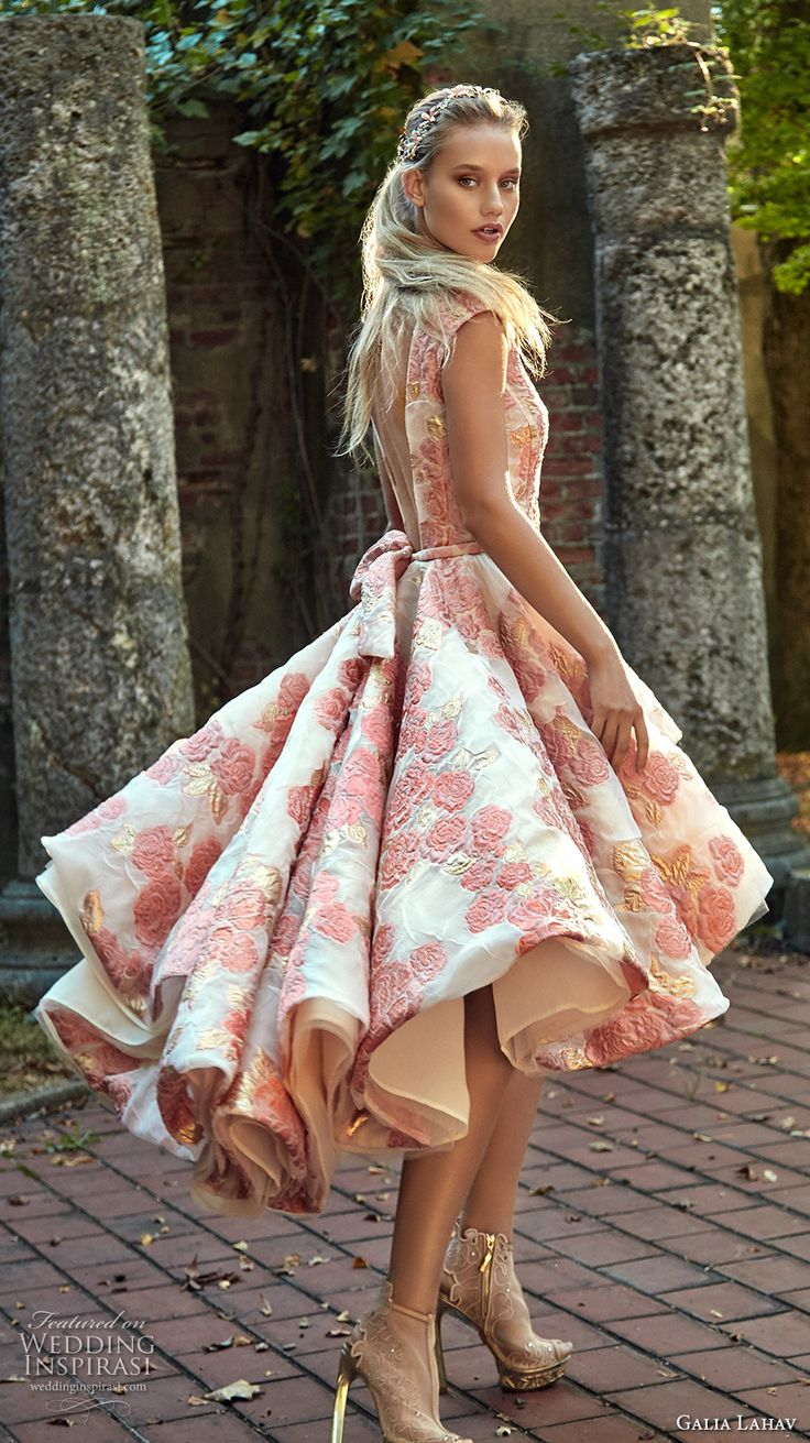 Galia Lahav fall 2017 bridal galia lahav couture fall 2017 bridal sleeveless boat neckline full embellishment floral embroidery pink color tea length short wedding dress low back (maddie) sdv