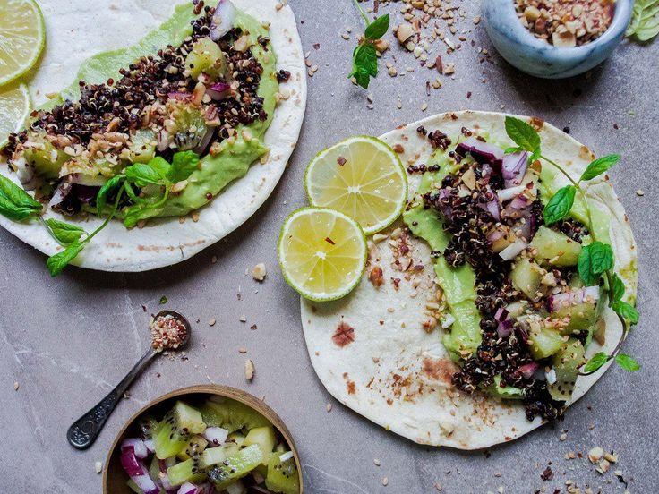 Kvinoa-kiivitacot dukkahilla (vegaani) – Viimeistä Murua Myöten