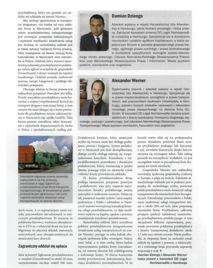 Kancelaria DD Legal z Hamburga, TSL Biznes, listopad 2013, strona 2 #hamburg #DDLegal #law #transport #spedycja #logistyka #niemcy