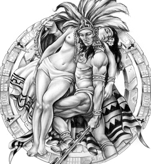 Mexican Warriors | aztec art mexican viva mexico brown ...