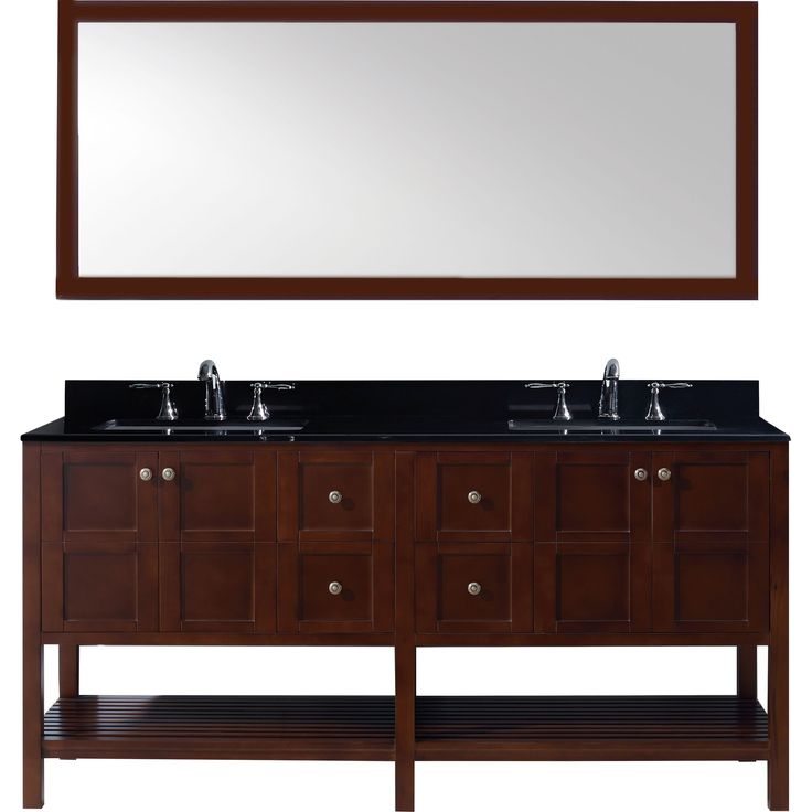 Photo Image Virtu USA Winterfell inch Double Bathroom Vanity Set with Black Granite Countertop and Square