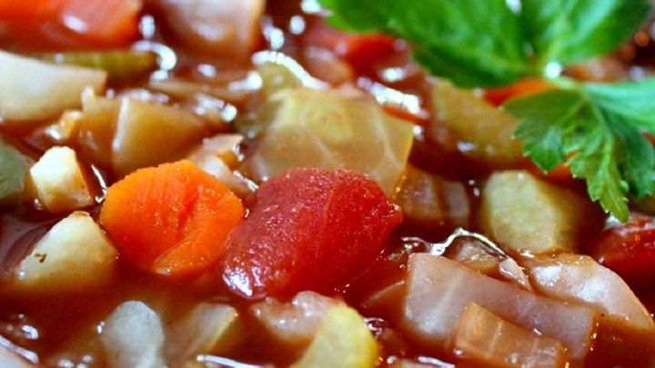 Cabbage Diet Soup :A package of onion soup mix flavors the tomato broth in which six different vegetables are combined with shredded cabbage in this fat free, low-calorie soup. If add cut okra too, and lots of seasoning