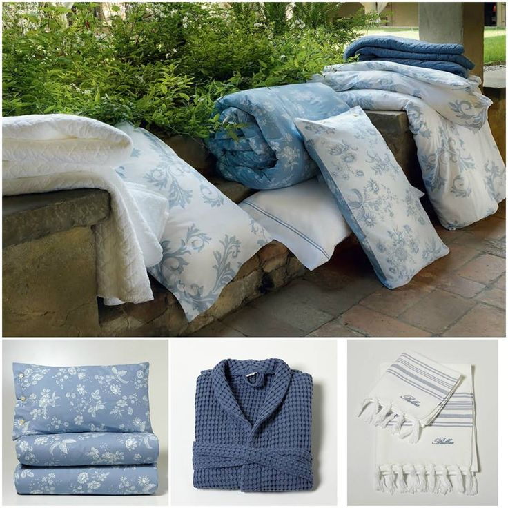 The soft shades of blue, white and light blue of the Bellora Spring Summer collections match each other to dress each room of your home with gentle and elegant charme.