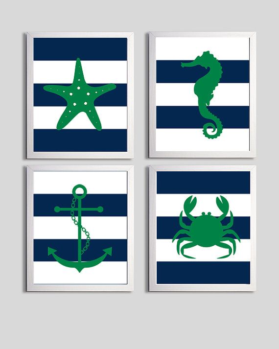 Nursery Art Stripes Nautical Beach Ocean Sea Navy by ZeppiPrints, $56.00