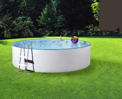 MYPOOL Rundbecken »Standard« mit Sandfilteranlage   Rundbecken-Set (10-teilig) bestehend aus:   . Pool  . inklusive Sandfilteranlage »mp 250-35« (Filterleistung: 3,5 m³/h)  . Hochbeckenleiter (2-stufig, Höhe 90 bzw. 120 cm)  . 25 kg Quarzsand  . Skimmerpaket  . Bodenschutzvlies  . Wasserpflege-Set  . Abdeckplane  . Bodenreiniger »Magic«  . 4-teiliges Reinigungs-Set   Mypool Rundbecken »Standard« im Set und in verschiedenen Sets erhältlich.   . Ø 300 x 90 cm, Inhalt in m³: 6 m³  . Ø 360 x 90…