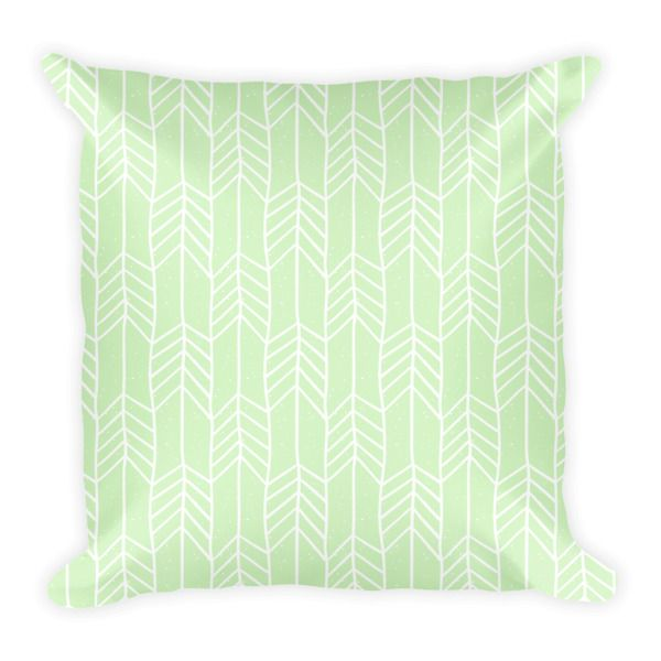 HAND DRAWN ARROWS (PASTEL GREEN) PILLOW - This soft pillow is an excellent addition that gives character to any space. It comes with a soft polyester insert that will retain its shape after many uses, and the pillow case can be easily machine washed. And it's completely cut, sewn and printed in the USA.