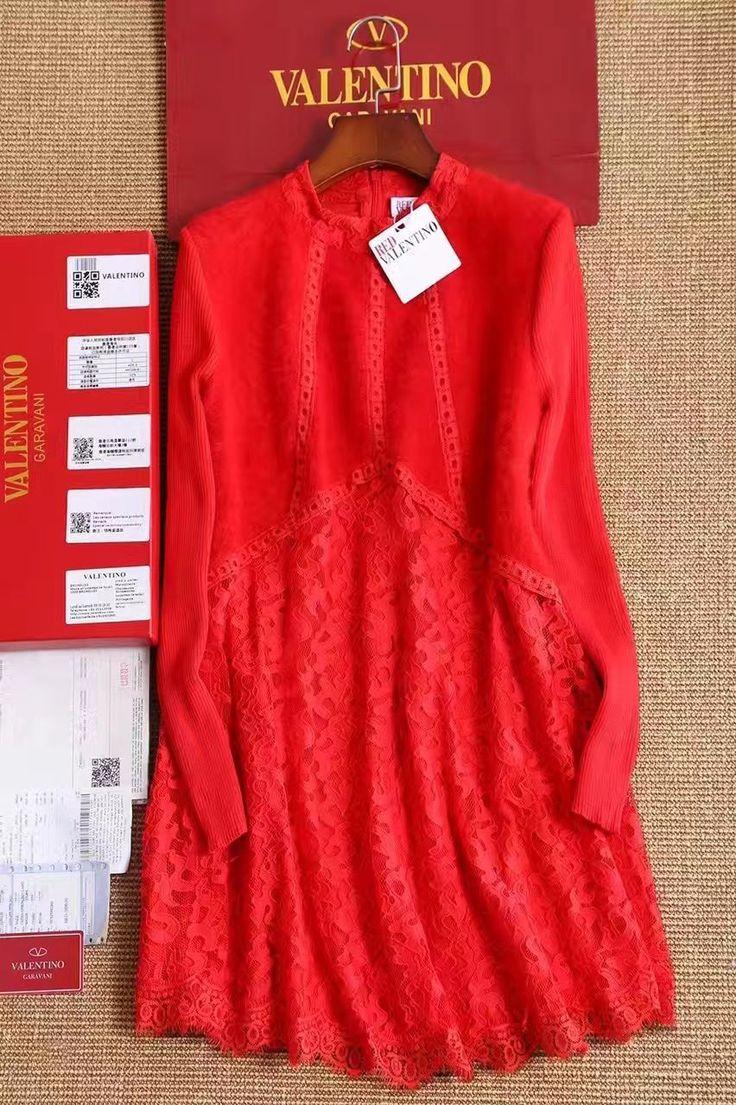 Valentino теплое красное платье с мехом