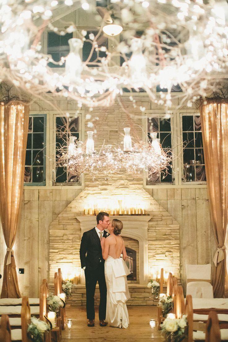 Winter Wedding Reception - A Vintage Fur Cape for a Romantic Snowy Winter Wedding