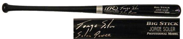 Jorge Soler Signed Rawlings Black Name Engraved Big Stick Baseball Bat w/Soler Power - Schwartz COA