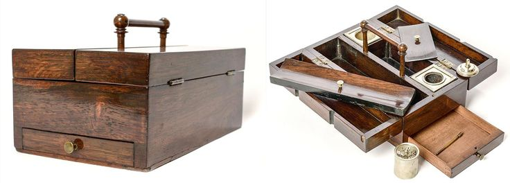 Late Georgian Rosewood Traveling Stationery set. Closed (left) and opened out (right) to reveal inkwell and pounce pot compartments (with said items) and places for quills, sharpeners, sealing wax and seals, paper and letters etc.