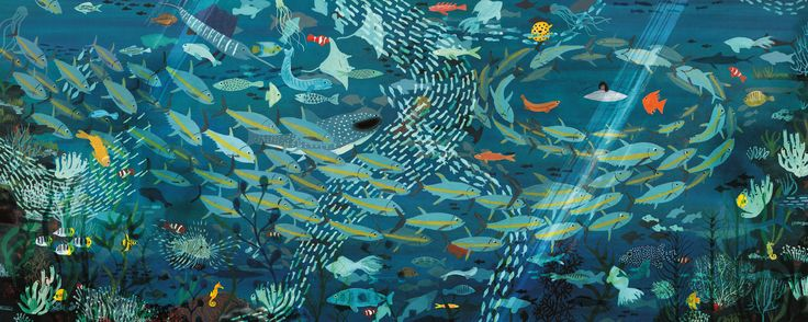 A River. Underwater scene. Illustration by Marc Martin