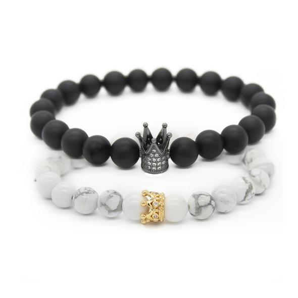 Femmes et Hommes Bracelet natural gemstone Blanc Mat Perles avec plumes Free Ship