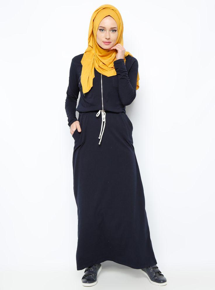 Beli Bağcıklı Elbise - Lacivert - Everyday Basic :: 59.90 TL (KDV dahil)