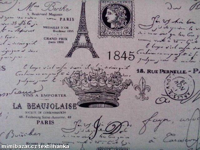 Metráž potahovka š. 140 cm Paříž Eifelova věž