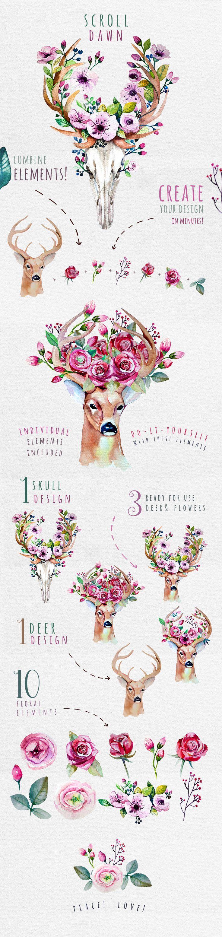 Deer, skull & floral by Peace ART on @creativemarket