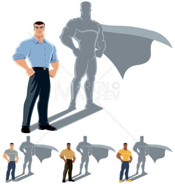 Man Superhero Concept Vector Cartoon Clipart Illustration Superhero Super Hero Man Superman Champion Undercover Shadow Silhouette In 2020 Conceptual Illustration Cartoon Clip Art Shadow Illustration