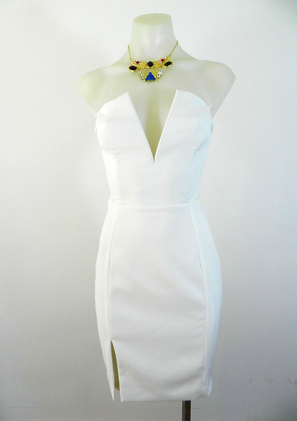 Ladies White Strapless Dress Fully Lined Boned Low Cut Dress by Luvalot RRP $69