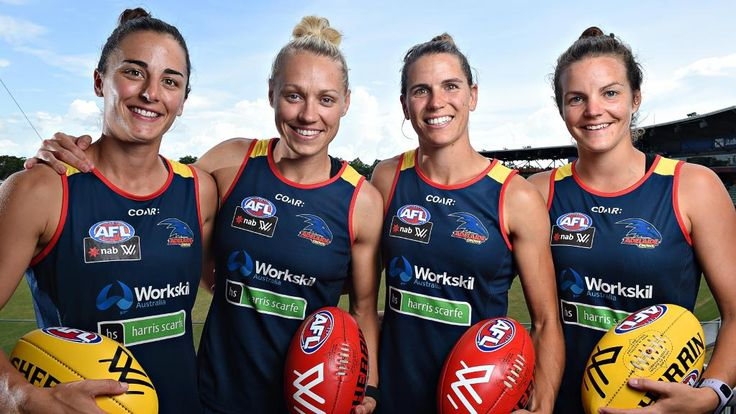 Adelaide Crows leadership team Angela Foley, Erin Phillips, Chelsea Randall and Sally Riley
