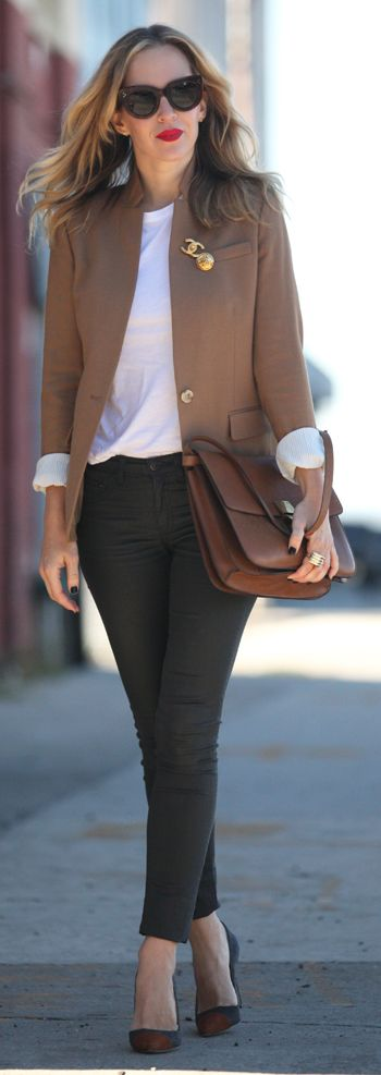 Camel Blazer by Brooklyn Blonde ratio and silhouette...tucking in the top makes all the diff #accessoriescourse