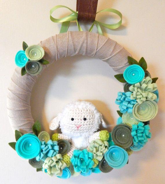 Baby Shower Wreath-Baby Shower Decor-Baby Lamb by TheBeautifulDoor