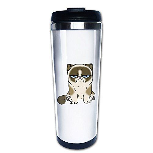 Cute Cartoon Grumpy Cat Coffee Thermos Mug ** Wow! I love this. Check it out now!