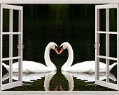 Custom Stickers, Wall Sticker, Vinyl Printer, Double Swan Twins in the Lake Water Sea Life Mirror-View Unique Style Design Vinyl Decal