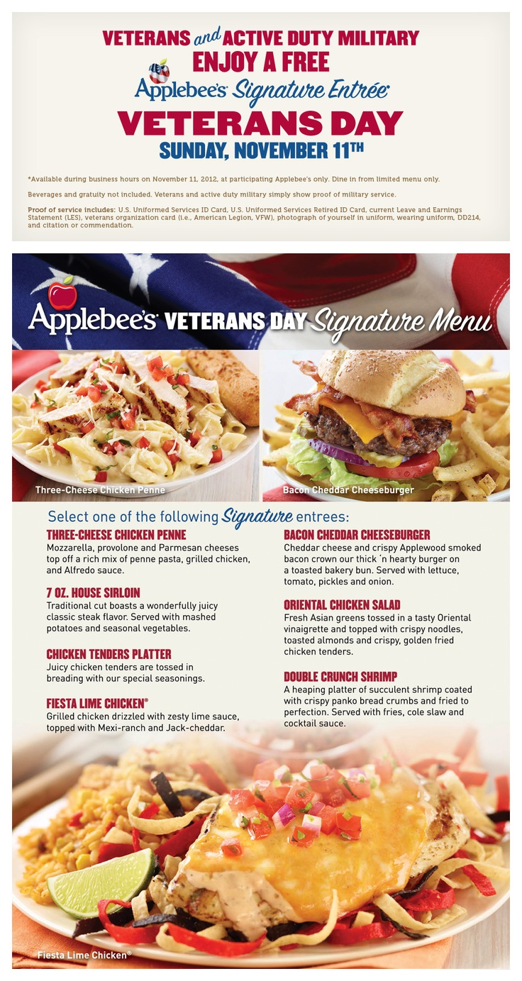 Applebee's - Veterans and Active Duty Military Enjoy a Free Signature Entree on Veterans Day, Sunday November 11 - MilitaryAvenue.com