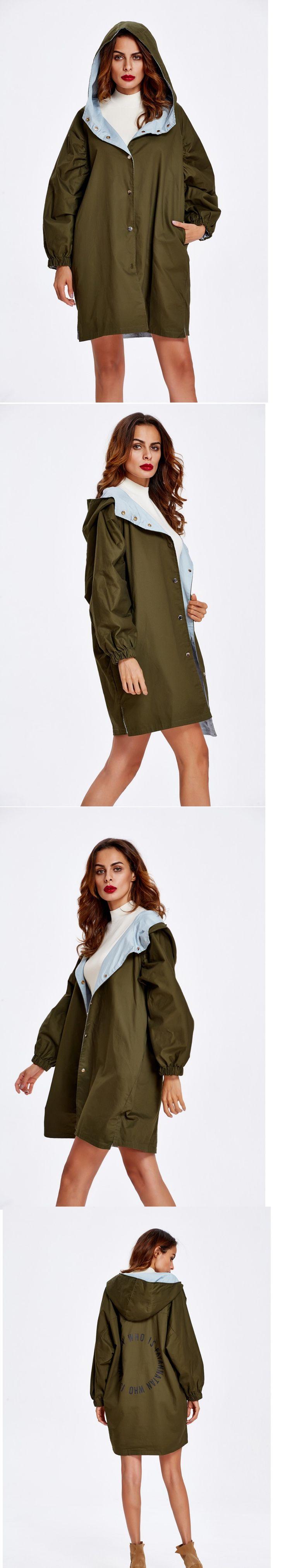 Women's Reversible Loose Fit Plus Size Hoodie Coat
