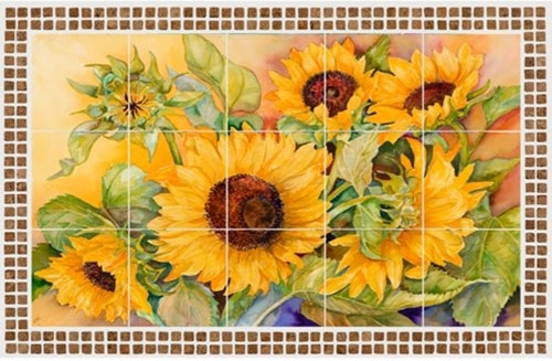 A Cutting of Sunflowers - Tile Mural Palette | Tile Mural