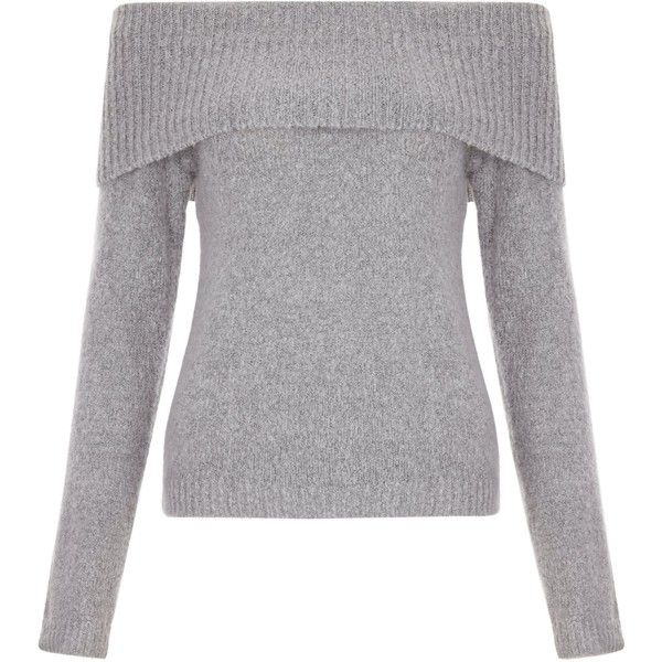 New Look Teens Grey Fold Over Bardot Jumper found on Polyvore featuring tops, sweaters, grey, grey long sleeve top, jumper top, jumpers sweaters, long sleeve tops and long sleeve sweater