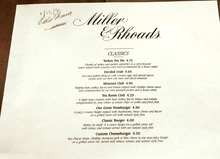 Miller And Rhoads Tea Room Menu