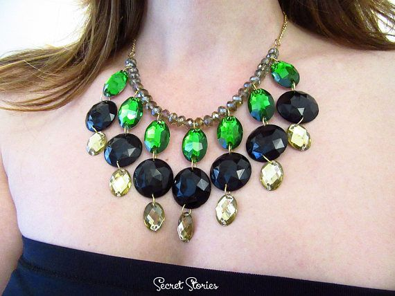 Statement Necklace Green Necklace Bridesmaid Necklace Black Crystal Jewelry Large Jewelry Gift for her Formal jewelry Black necklace by SecretStories