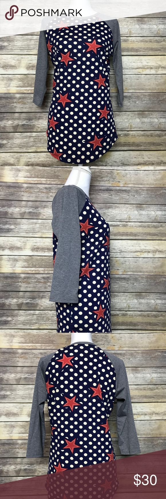 LuLaRoe Polka Dot Star Randy Tee T Shirt Small S LuLaRoe Women's Star Polka Dot Red Blue Gray Randy T Tee Shirt - Size Small S  Excellent condition, brand new without tags! No flaws.  Approximate Measurements: Bust (measured pit to pit): 20 inches  Length (back from middle of neck to hem): 27 inches Sleeve length (middle of neck to cuff): 24 inches  E45 LuLaRoe Tops Tees - Long Sleeve