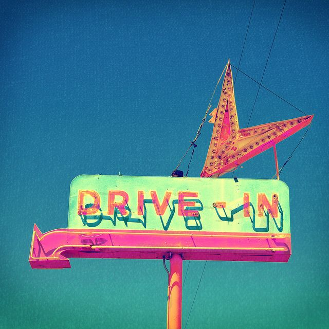 old neon drive-in sign